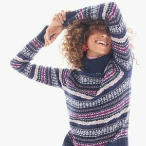 New J Crew Fair Isle Wool Nordic Turtleck  Sweater